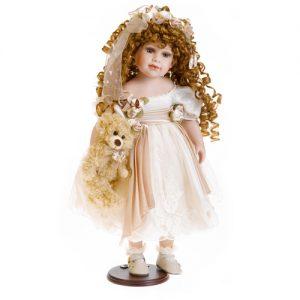 Porzellan-Puppe mit creme Kleid