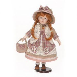 Porzellan-Puppe mit Stoffhut
