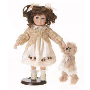 Porzellan-Puppe creme mit Teddy