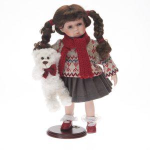 Porzellan-Puppe mit Strickpullover